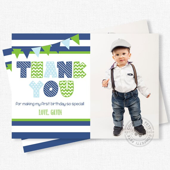 Blue And Green Thank You Photo Thank You Cards First Birthday