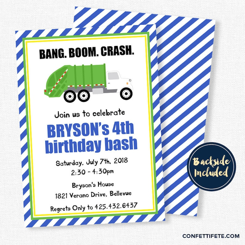Garbage Truck Invitations Birthday Invitation Party Trash Bash