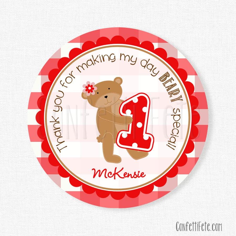 Teddy Bear Picnic Favor Tags Red Gingham Tag Girls Birthday   Etsy