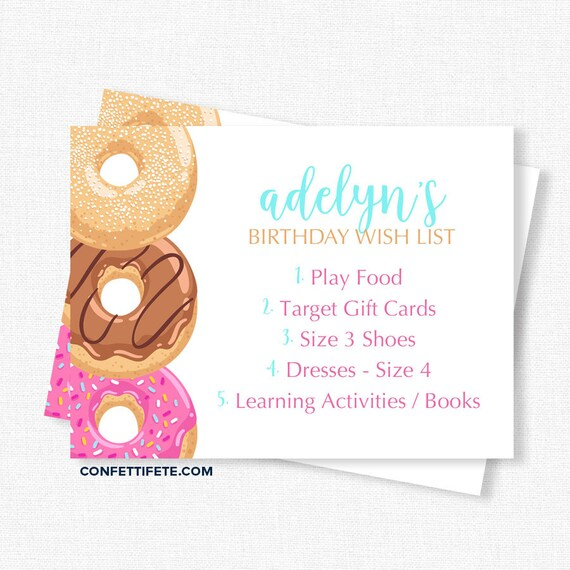 Donut Birthday Wish List Inserts Gift Cards Invitation Party Printable