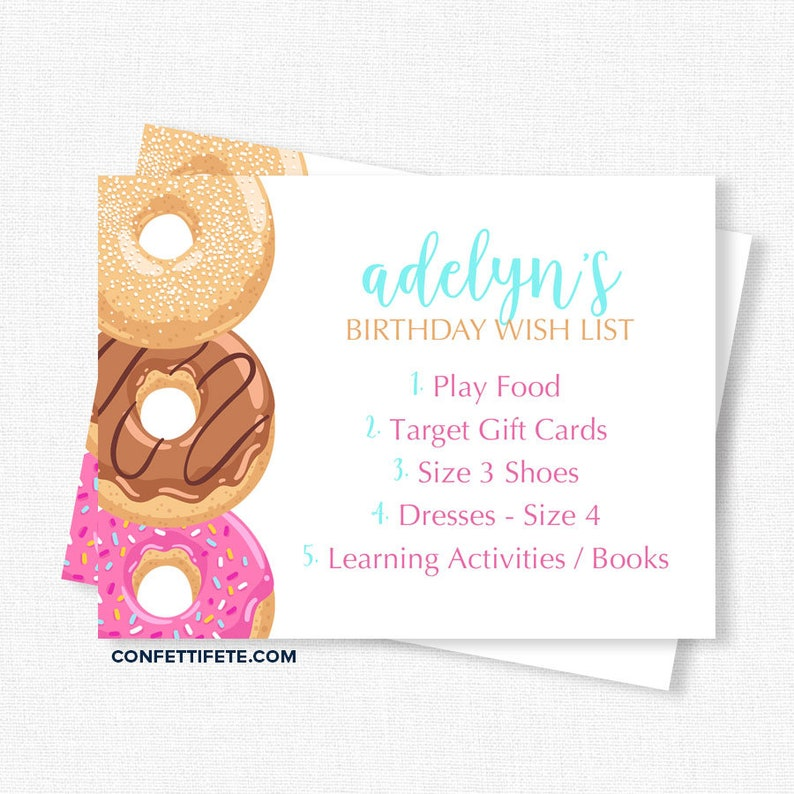 Donut Birthday Wish List Inserts Gift Cards Invitation