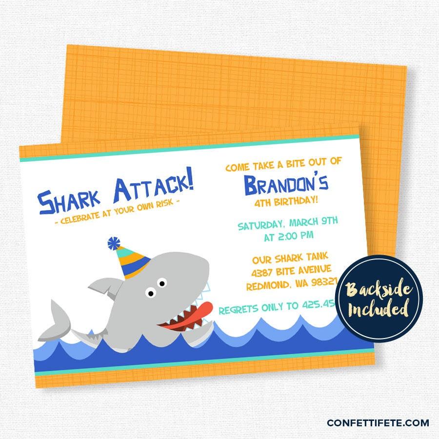 Shark Birthday Invitation Shark Party Invitations Shark | Etsy