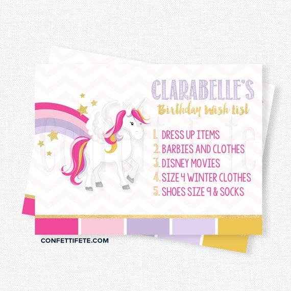 Unicorn Birthday Wish List Inserts Gift Cards Invitation Printable