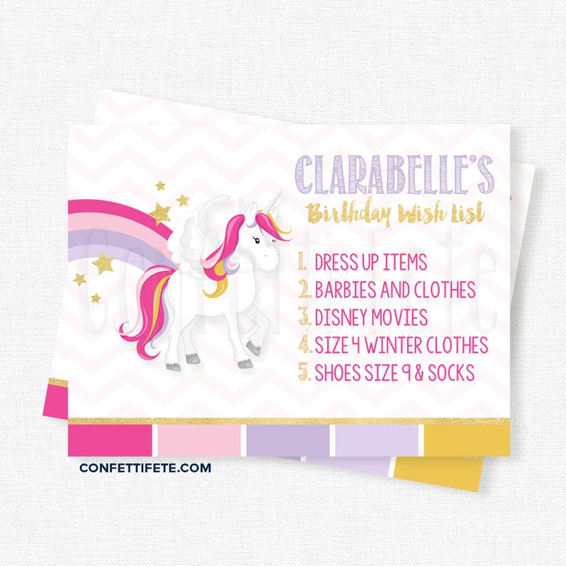 Unicorn Birthday Wish List Inserts Gift Cards