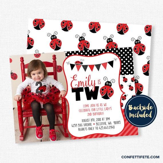 Ladybug Birthday Invitation Party Invitations 1st 2nd Red