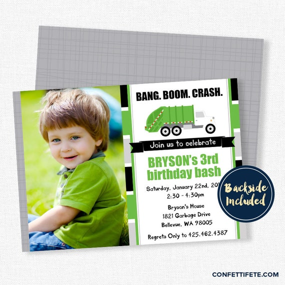 Garbage Truck Party Invitation Trash Birthday Green