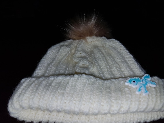 6d288ea8045 Hand Knitted Cream Aran Child s Hat with Faux Fur Pom Pom