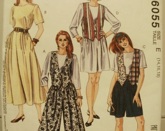 Vintage McCalls 6055 Misses Jumpsuit and Vest Pattern in sizes 14, 16, and 18