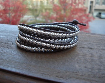 Leather Beaded Wrap Bracelet - Brown and Silver