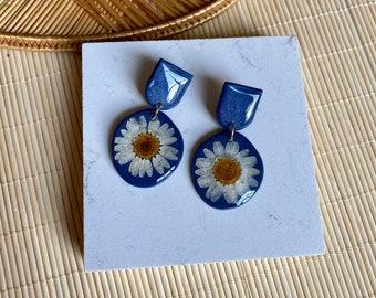 Pressed floral clay earrings