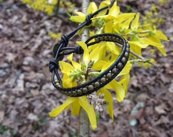Leather Beaded Wrap Bracelet - Black and Antique Brass