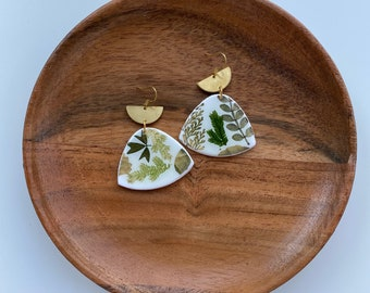 Pressed botanical clay earrings