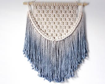 Sky Blue Ombre Macrame Wall Hanging