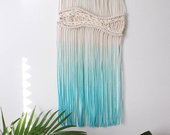 Turquoise Ombre Macrame Wall Hanging
