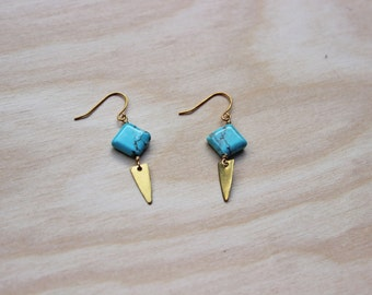 Turquoise and Brass Geometric Earrings