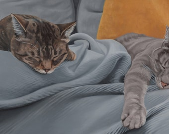 Custom Pet Portrait - Multiple Subjects + background, 12x24