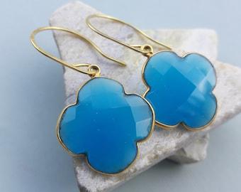 SALE Dark Blue Chalcedoni Earrings