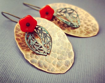 Copper,Brass And Red glass Flower Earrings