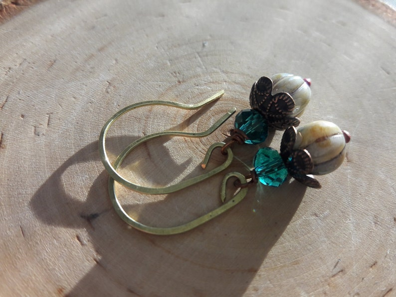 Glass And Brass Earrings