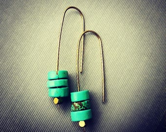 Turquoise And brass Earrings
