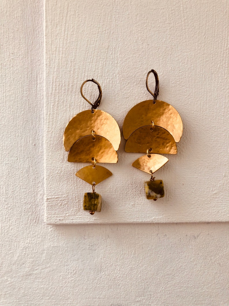 Hammered brass moon and yellow jasper earrings