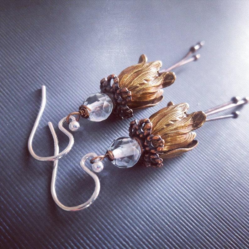 Brass and Aquamarine Tulip Earringsflower earrings