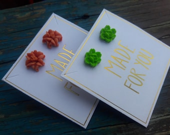 Coral and Green Roses Earrings