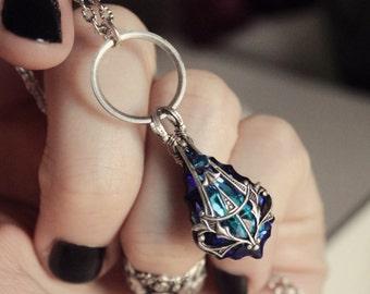 Aged Silver & Swarovski Necklace - Purple - Blue - Witch - Nouveau - Romantic - Fall Wedding - Bridal - Holidays - November - Black Friday
