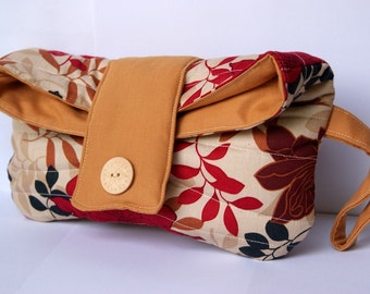 Red Autumn Leaves Fold Over Quilted Clutch