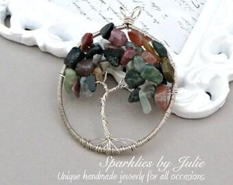 Tree of Life Pendant - FANCY JASPER, Oval Pendant, Wire Wrapped in Sterling Silver, OOAK, One-of-a-Kind