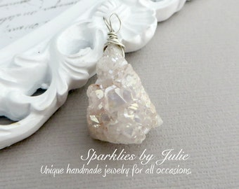 Druzy Drop Pendant - AB Coated Crystal Quartz Druzy Stone, Geode, Wire Wrapped in Sterling Silver, OOAK, One-of-a-Kind