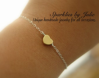 Gold Heart Bracelet - Matte Gold Plated Heart, Sterling Silver Components, Two Toned Bracelet, Love & Friendship, Adjustable, Minimal