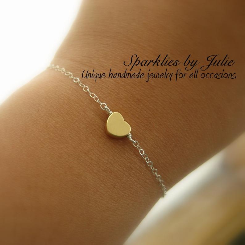 Gold Heart Bracelet  Matte Gold Plated Heart Sterling Silver image 0