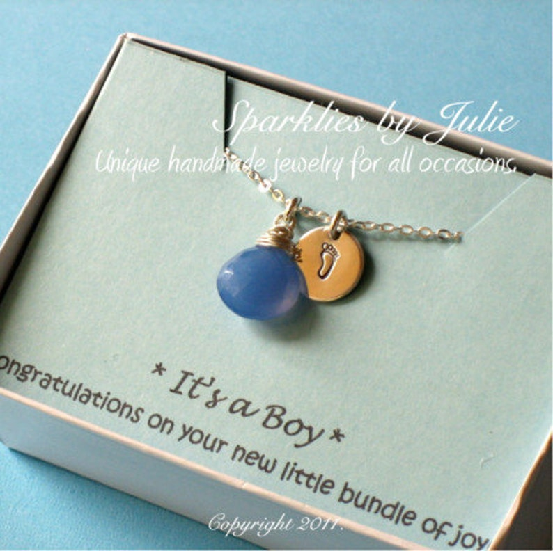 Baby Boy Necklace  Wire wrapped Blue Chalcedony briolette image 0