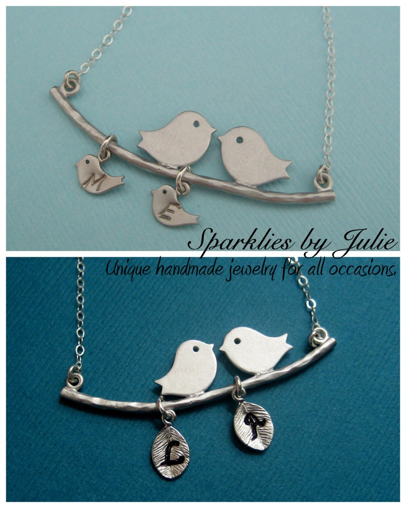 Bird Family Necklace  Rhodium Plated Mommy & Daddy Birds on a image 0