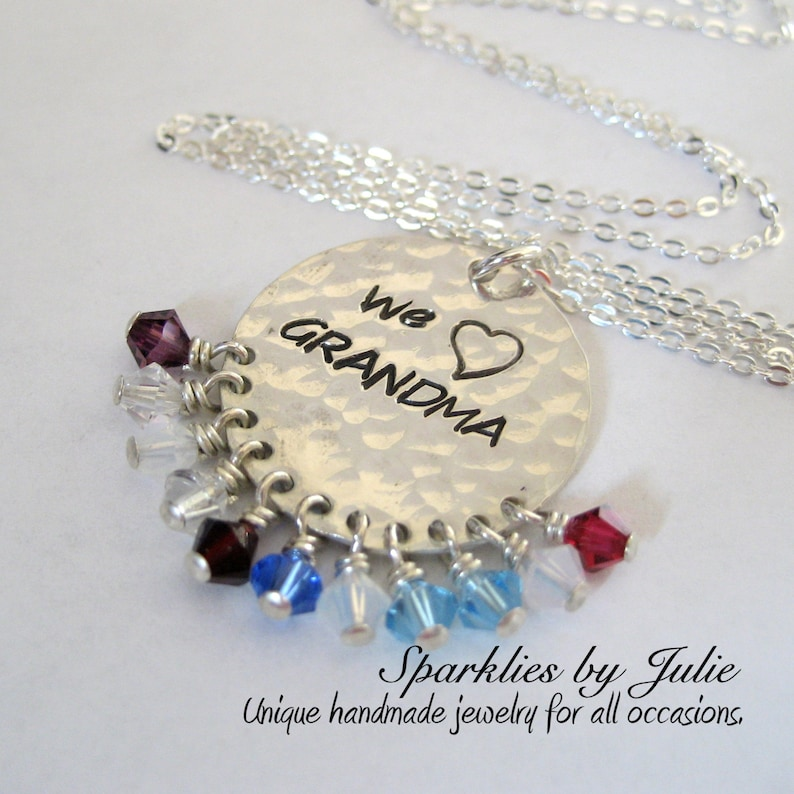 The ORIGINAL We Heart GRANDMA Necklace  Hand stamped sterling image 0