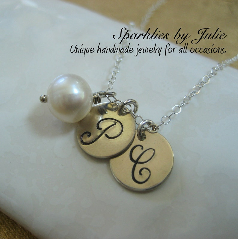 Two Initials & Birthstone Necklace  Hand stamped charms image 0