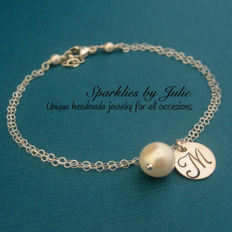 Monogram Bracelet with Birthstone  Hand stamped initial image 0