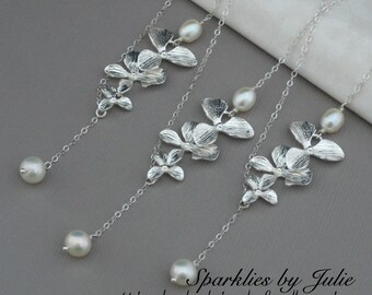 THREE PIECE Gift Set -Three Silver Orchid Pearl Lariat (Y-Style) Necklace, Freshwater Pearls, Silver Plated Orchids, All Sterling Silver