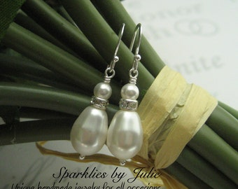 Drop Pearl Earrings, Sterling Silver Components, Swarovski Crystallized Elements, Teardrop, Classic, Bridal Jewelry, Elegant Everyday