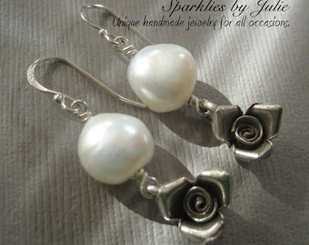 Rose Pearl Earrings, Hill Tribe Silver Roses, Sterling Silver Components, Large Freshwater Nugget Pearls, Bridal Jewelry