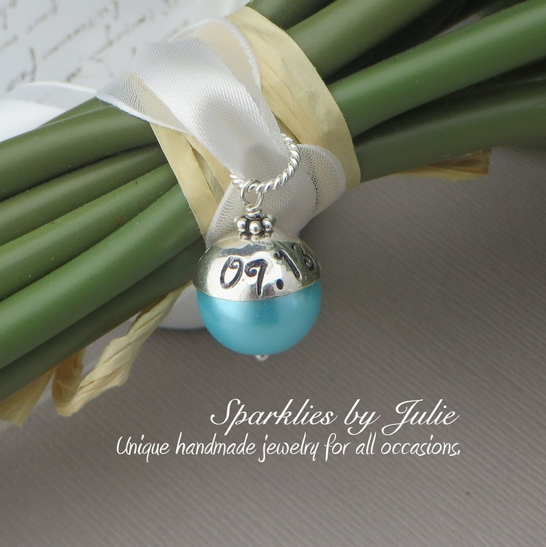 Something Blue Bouquet Charm  Hand stamped personalized image 0
