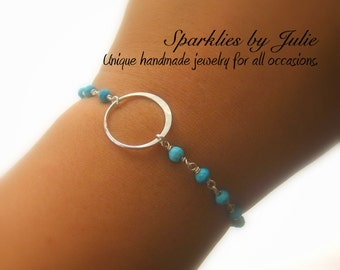 Karma Bracelet - Silver Circle, Faceted Turquoise, Sterling Silver Components, Infinity, Zen, Yoga, Adjustable, Dainty