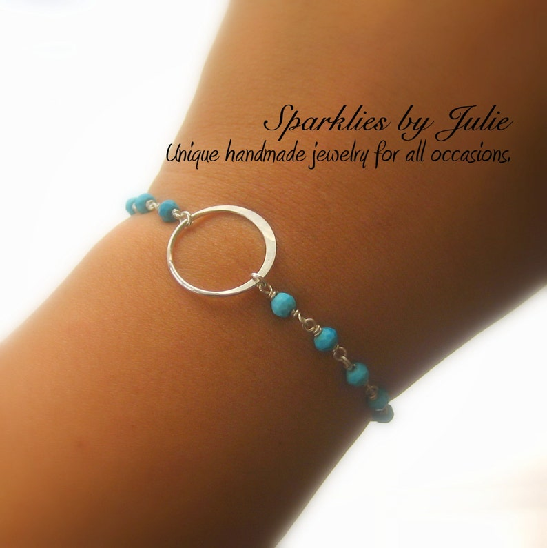 Karma Bracelet  Silver Circle Faceted Turquoise Sterling image 0