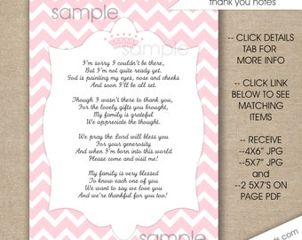 pink princess crown baby shower thank you poem notes instant download girl baby shower stationery printable thank you cards