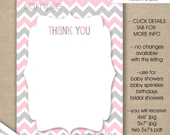 pink grey thank you notes instant download girl baby shower stationery printable thank you cards bridal shower birthday party