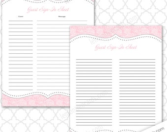 pink elephants baby shower guest sign in and baby advice sheet etsy