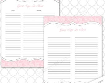 pink guest sign in sheet two versions included baby shower guest list bridal shower guest list birthday party guest list