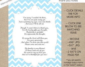 baby shower thank you poem notes instant download boy baby shower stationery printable thank you cards