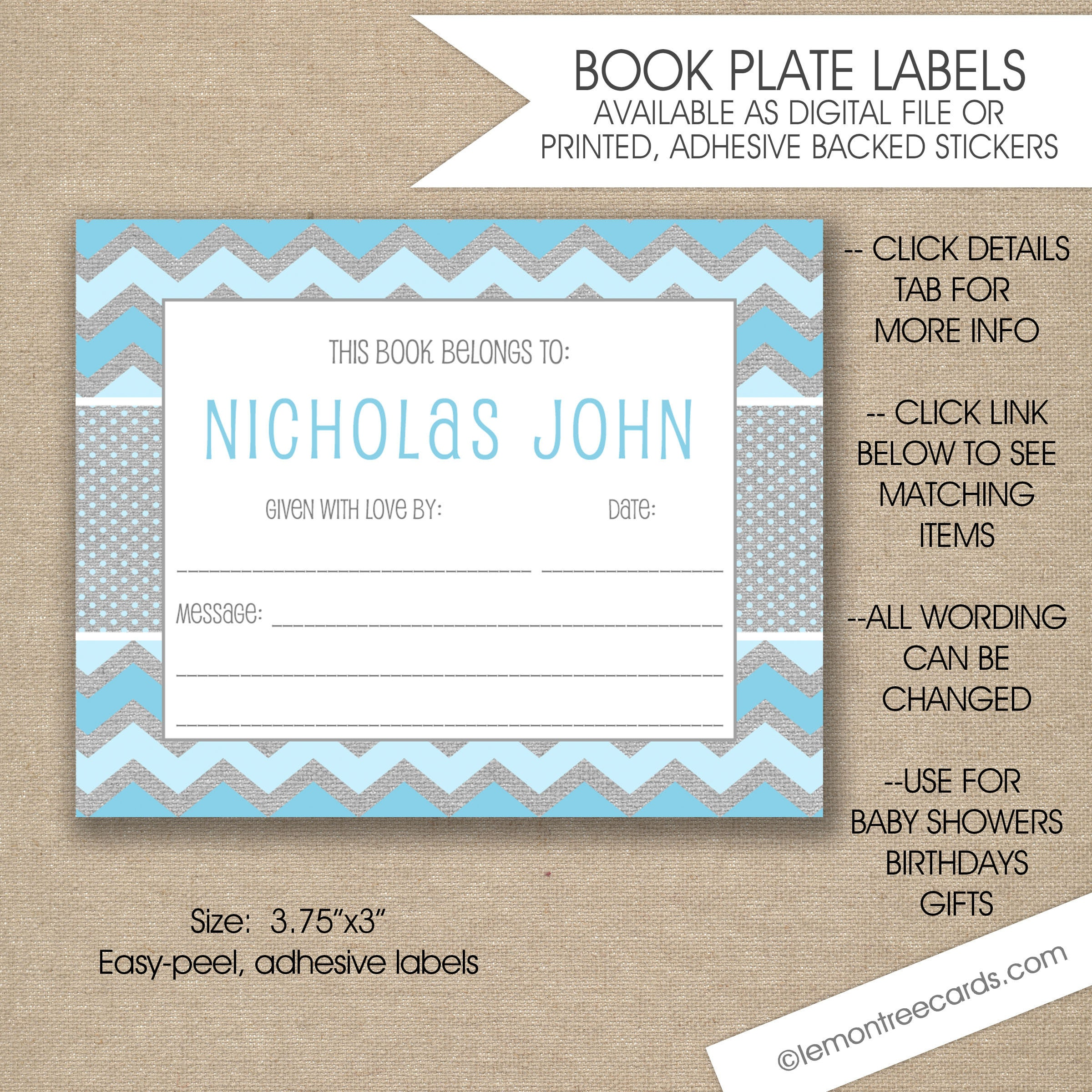 personalized baby shower book labels boy bookplates blue | etsy